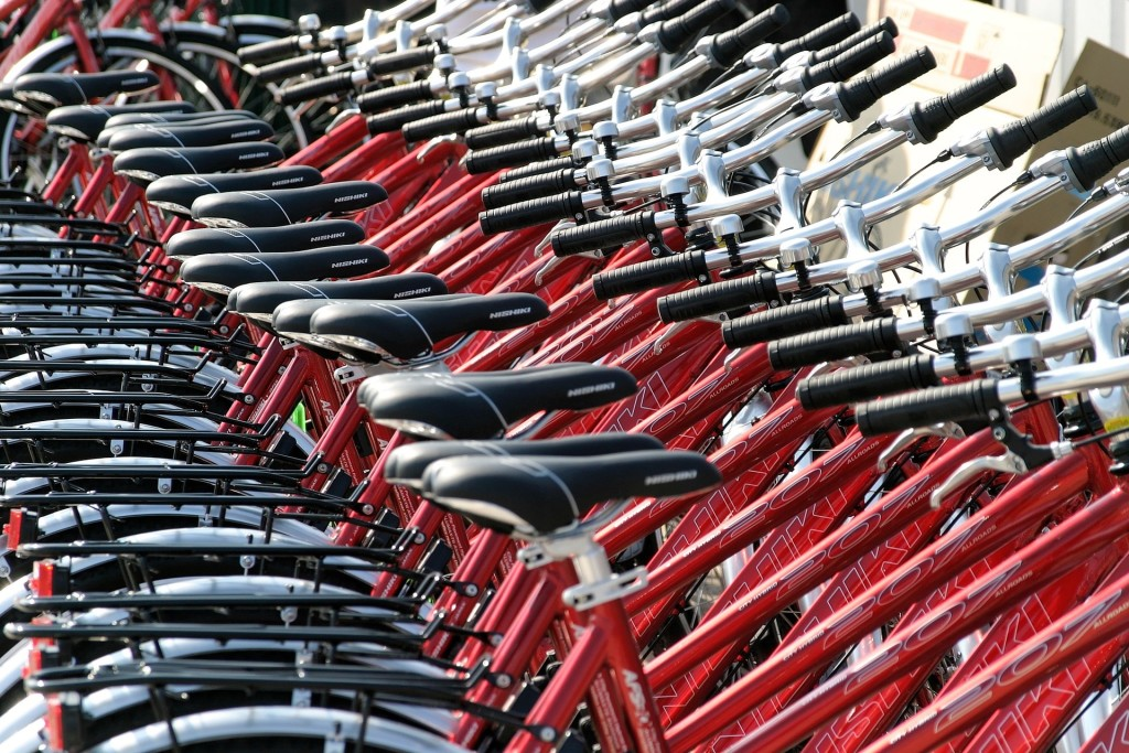 a row of bikes