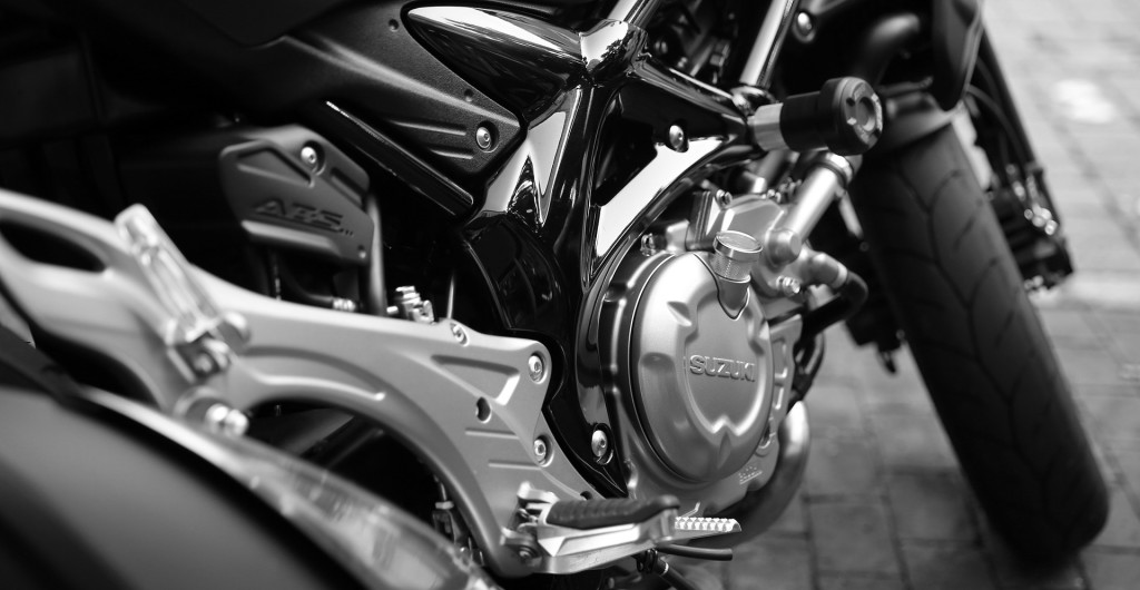 black and white motorcycle closeup