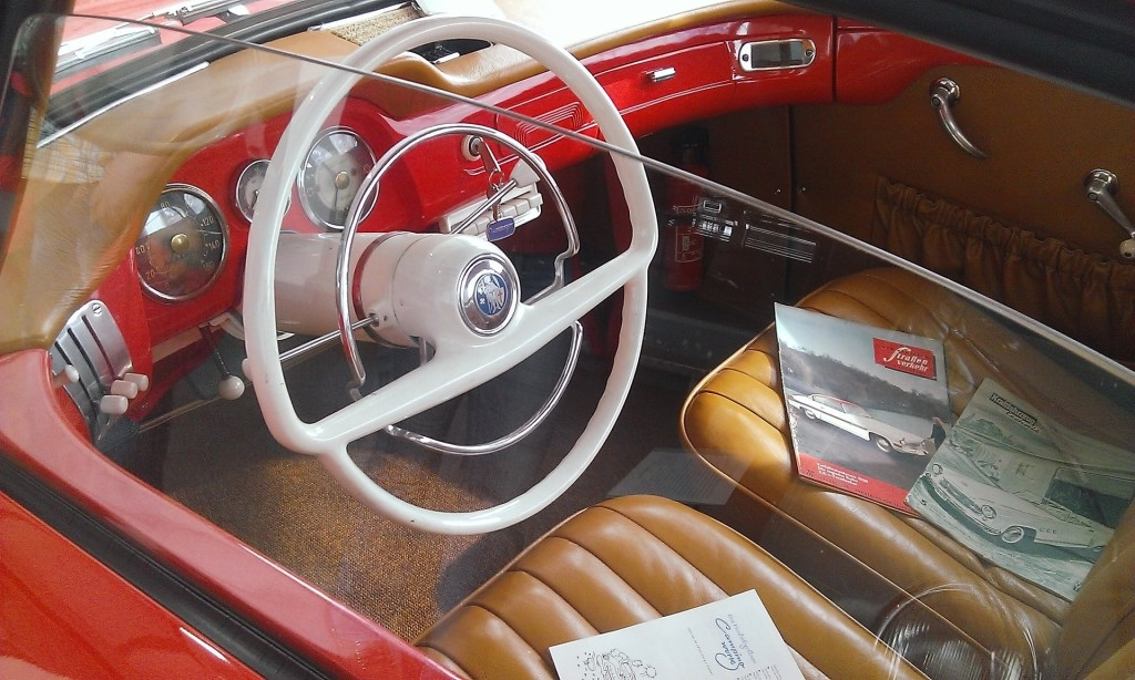 inside of old red car