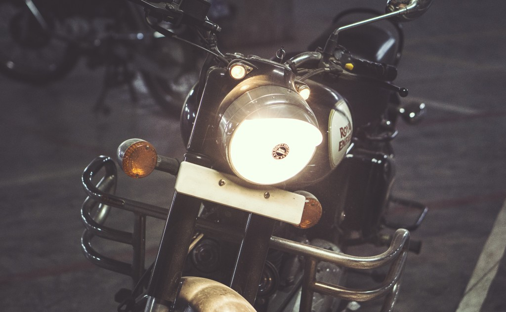 motorcycle with lights on