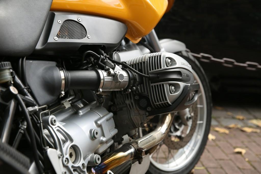 yellow motorcycle closeup