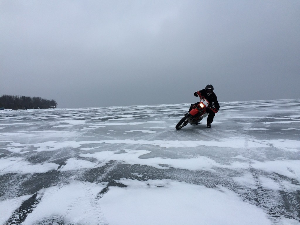 motorcylist on ice
