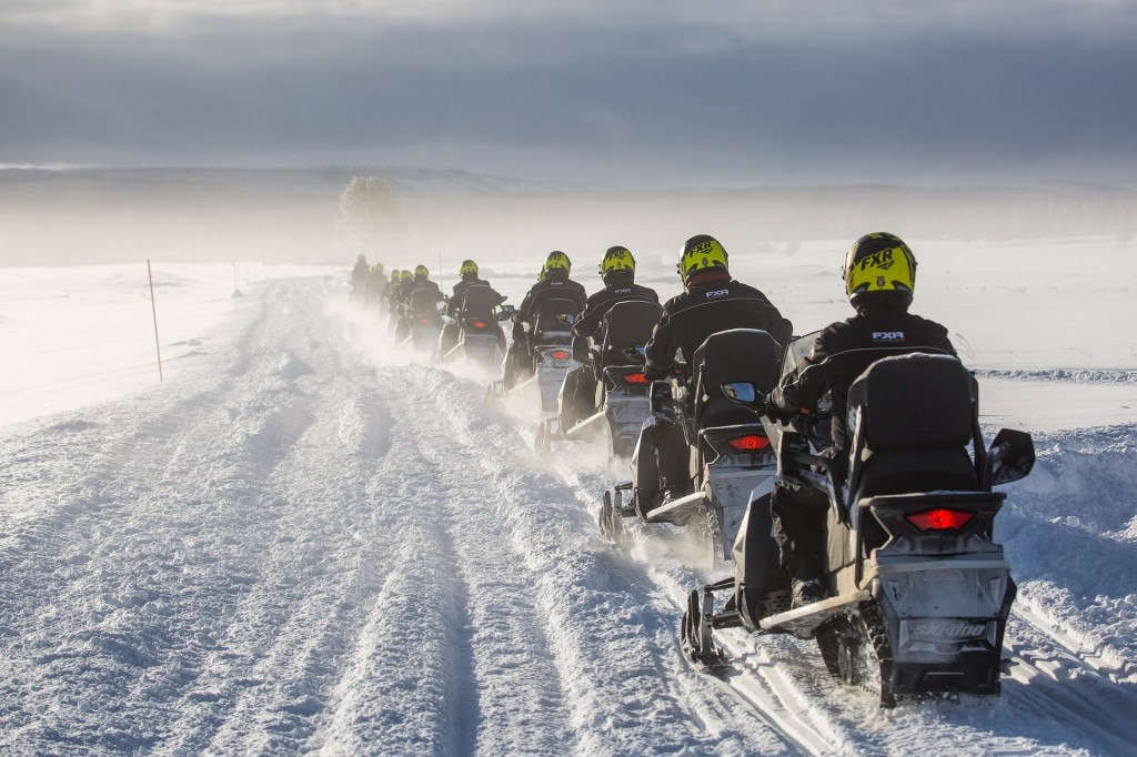 snowmobile racers in a row