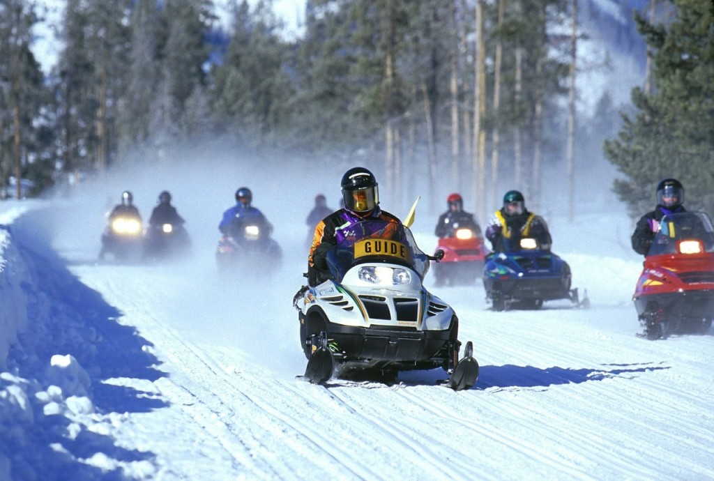 snowmobile racing in action