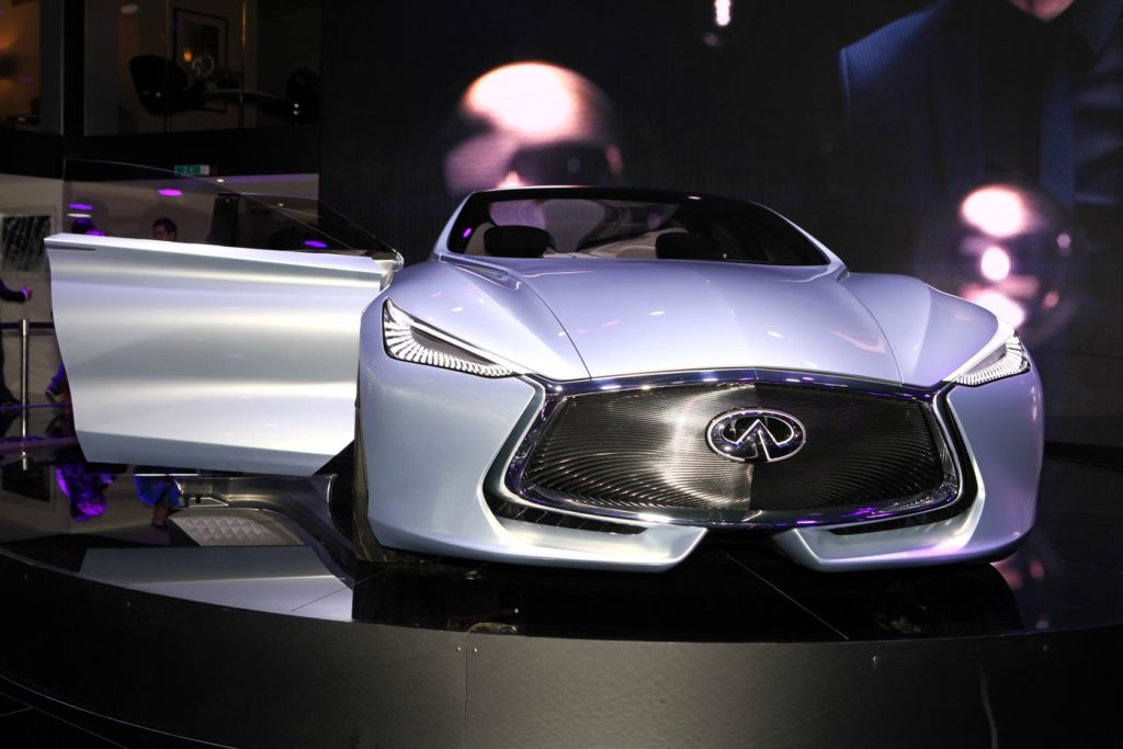 the new infiniti q80 concept displayed at the 2014 paris motor show