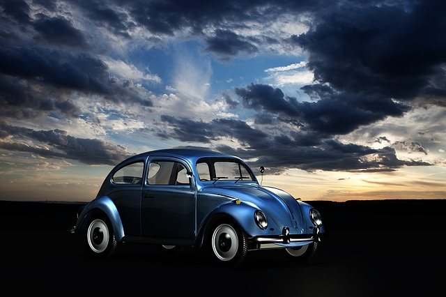 Blue Volkswagen Bug and Cloudy Sky - VW Repair - How to Change Your Thermostat