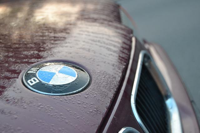shot of BMW emblem in rain on car
